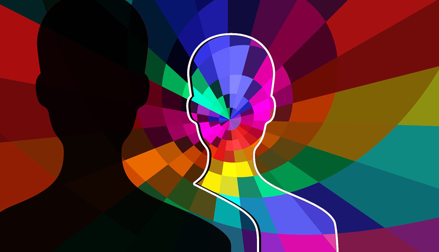 Afbeelding abstracte en kleurrijke weergave silhouet mensenhoofd